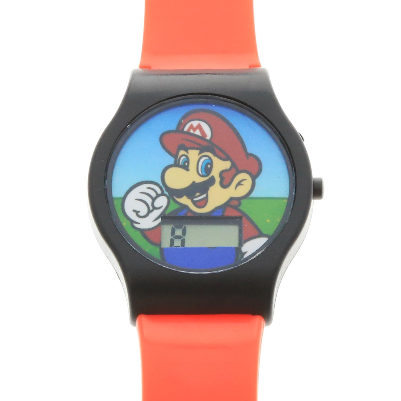 Nintendo Super Mario Boys LCD Wrist Watch Digital Style Adjustable Strap - Red