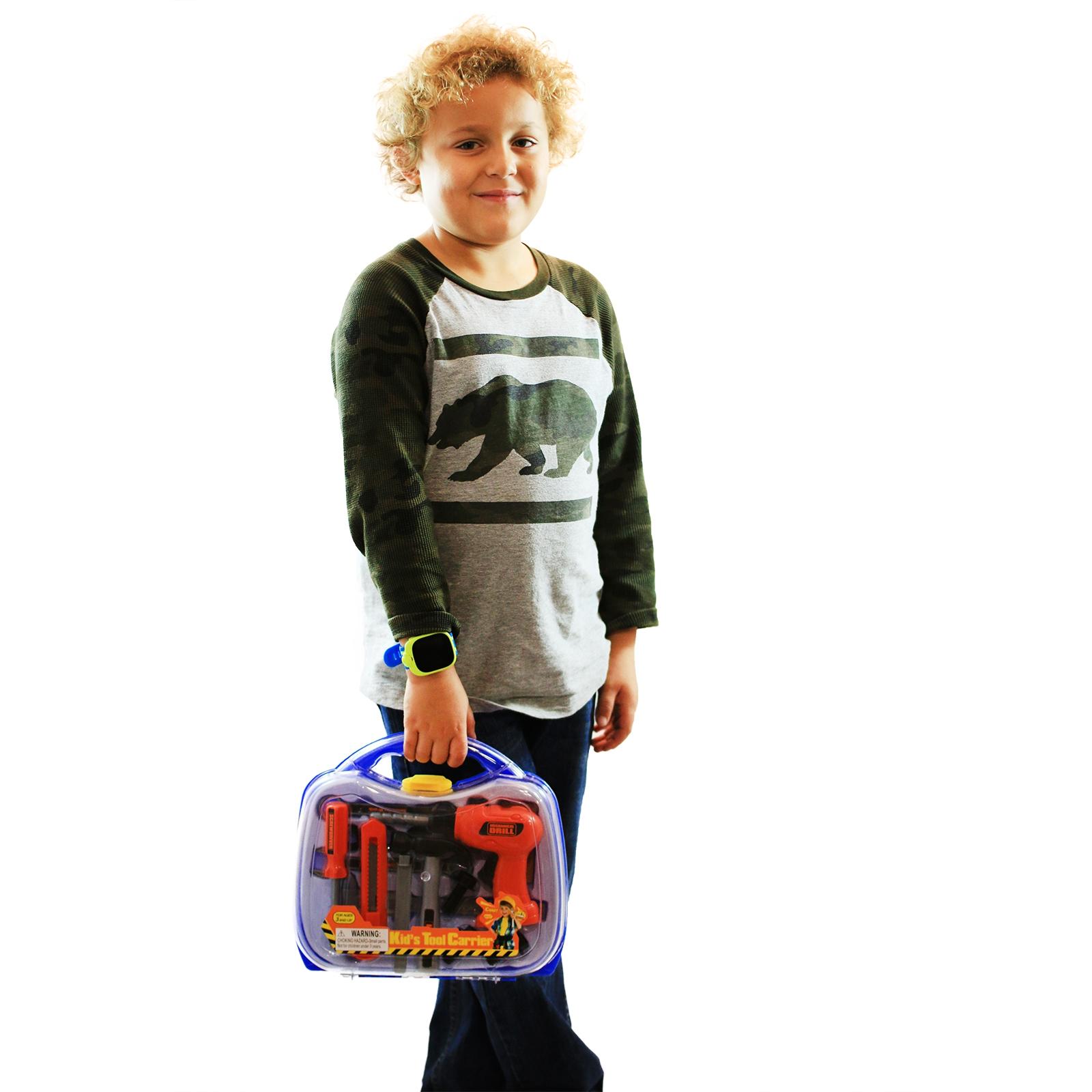 KidPlay Boys Tool Carrier Set Pretend Play Just Like Dad Toolbox - Blue