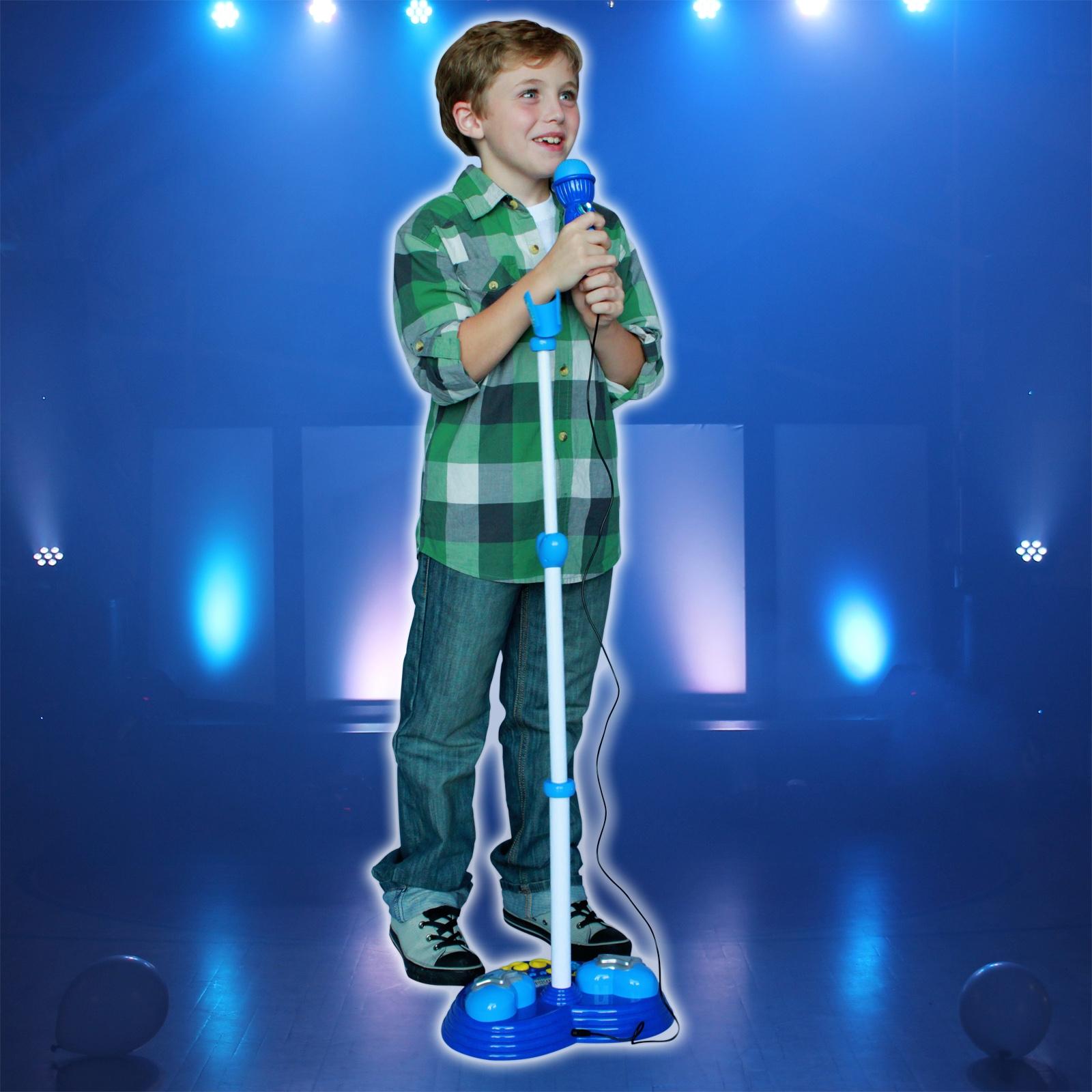Kids Interactive Karaoke Singing Microphone Flashing Lights and Sound - Blue