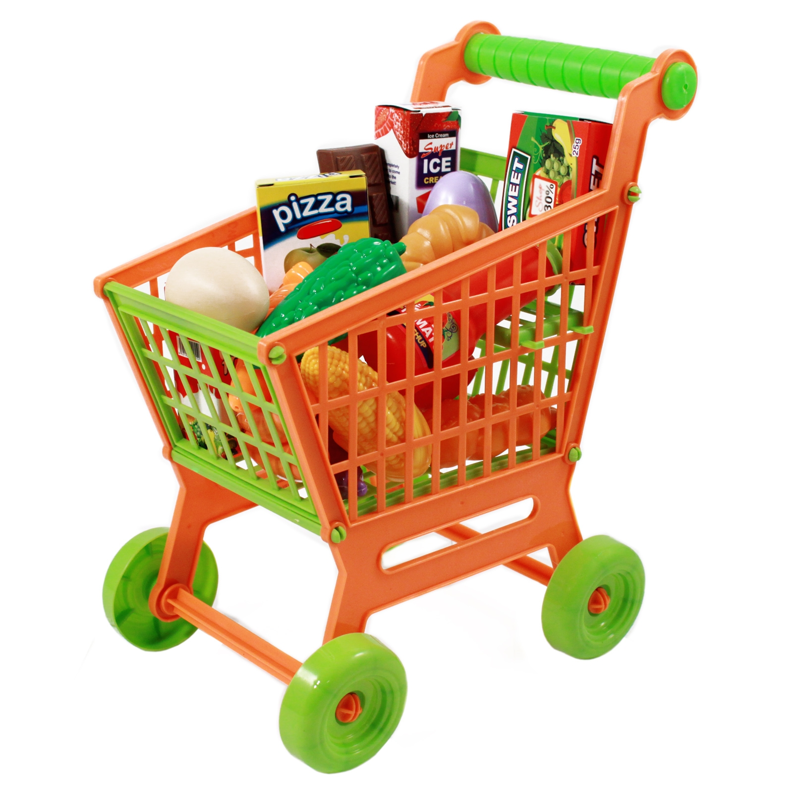 Kids Push Along Grocery Shopping Cart Pretend Play Toy