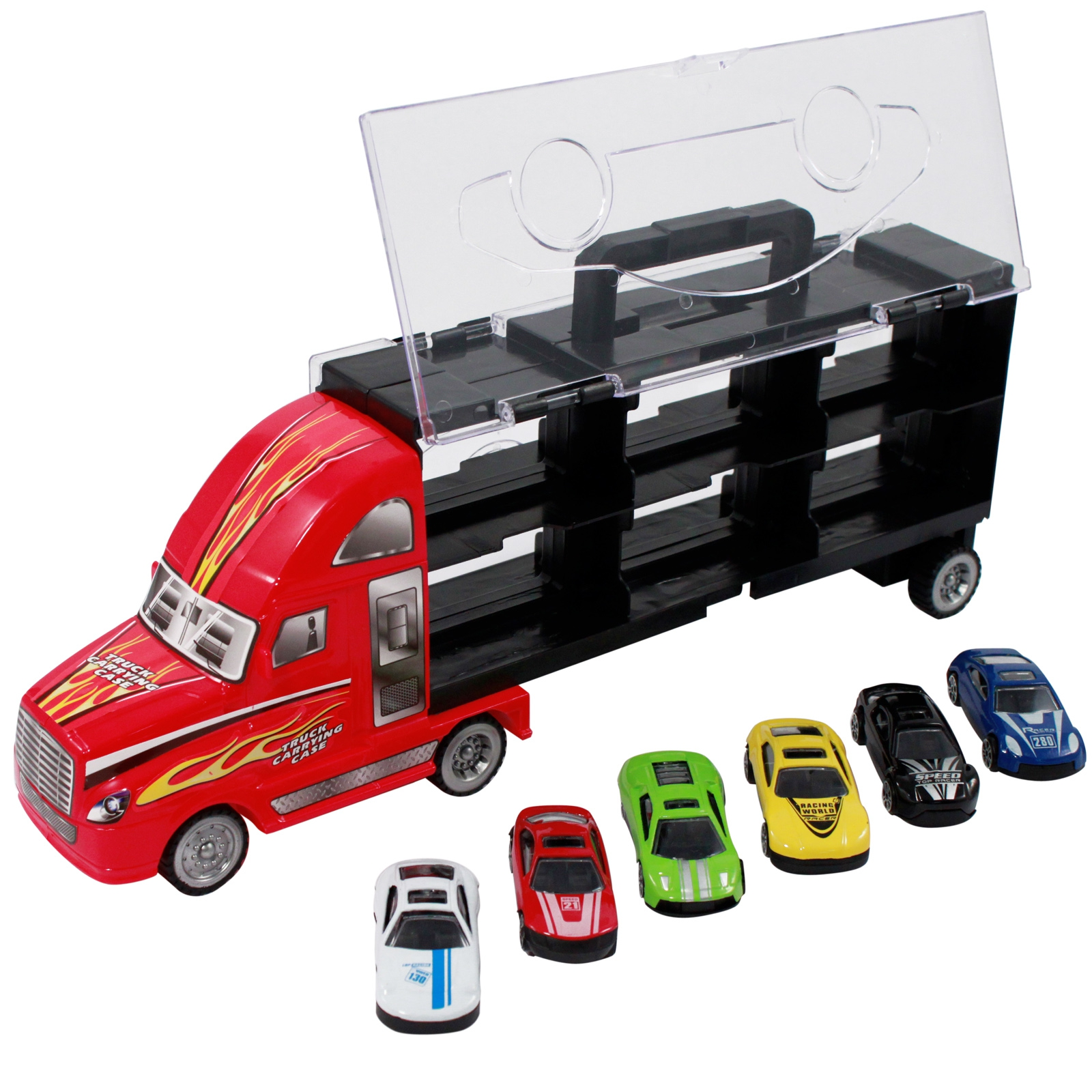 7pc Thunder Wheels Toy Semi Truck Diecast Race Car Carrier Set - Red
