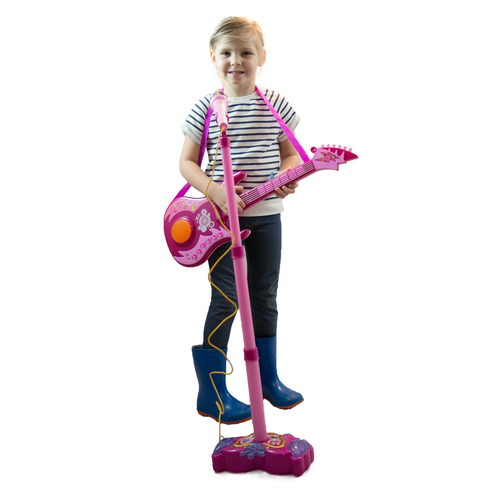 Kids Interactive Karaoke Singing Microphone Flashing Lights and Sound - Pink