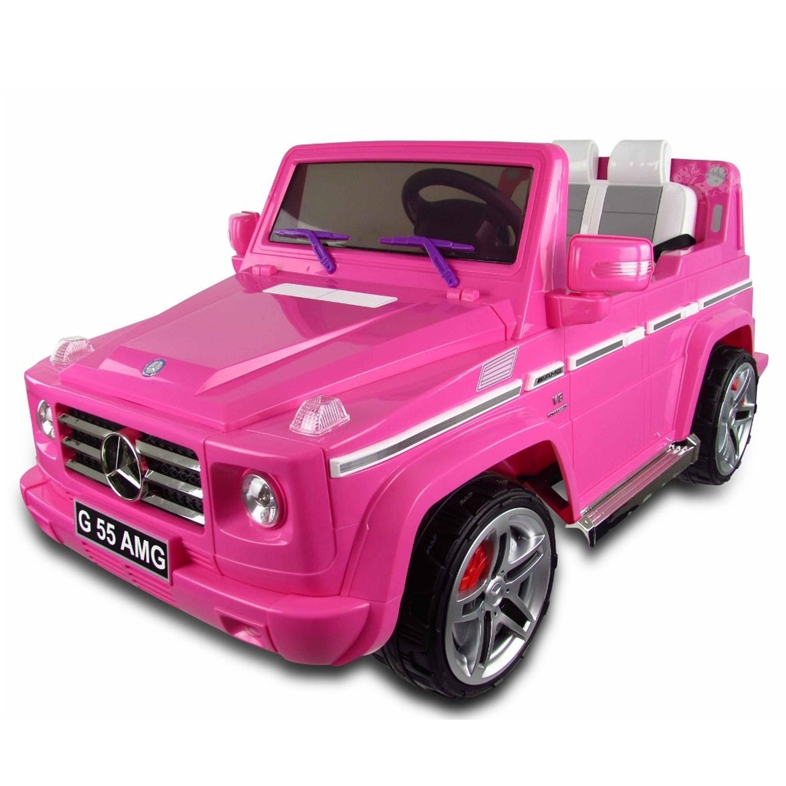 Mercedes benz g55 ride on suv car 12v pink for Pink mercedes benz power wheels
