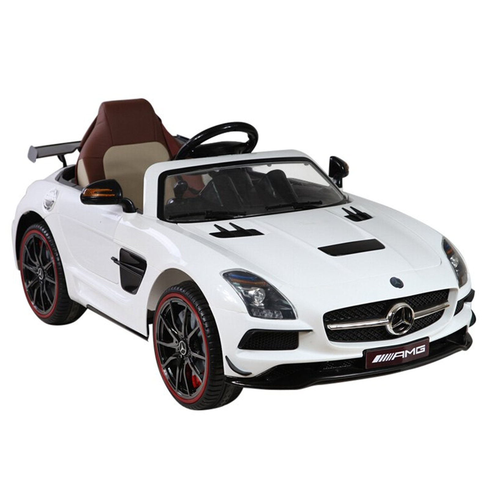 12v mercedes benz sls officially licsensed ride on white for Mercedes benz kids
