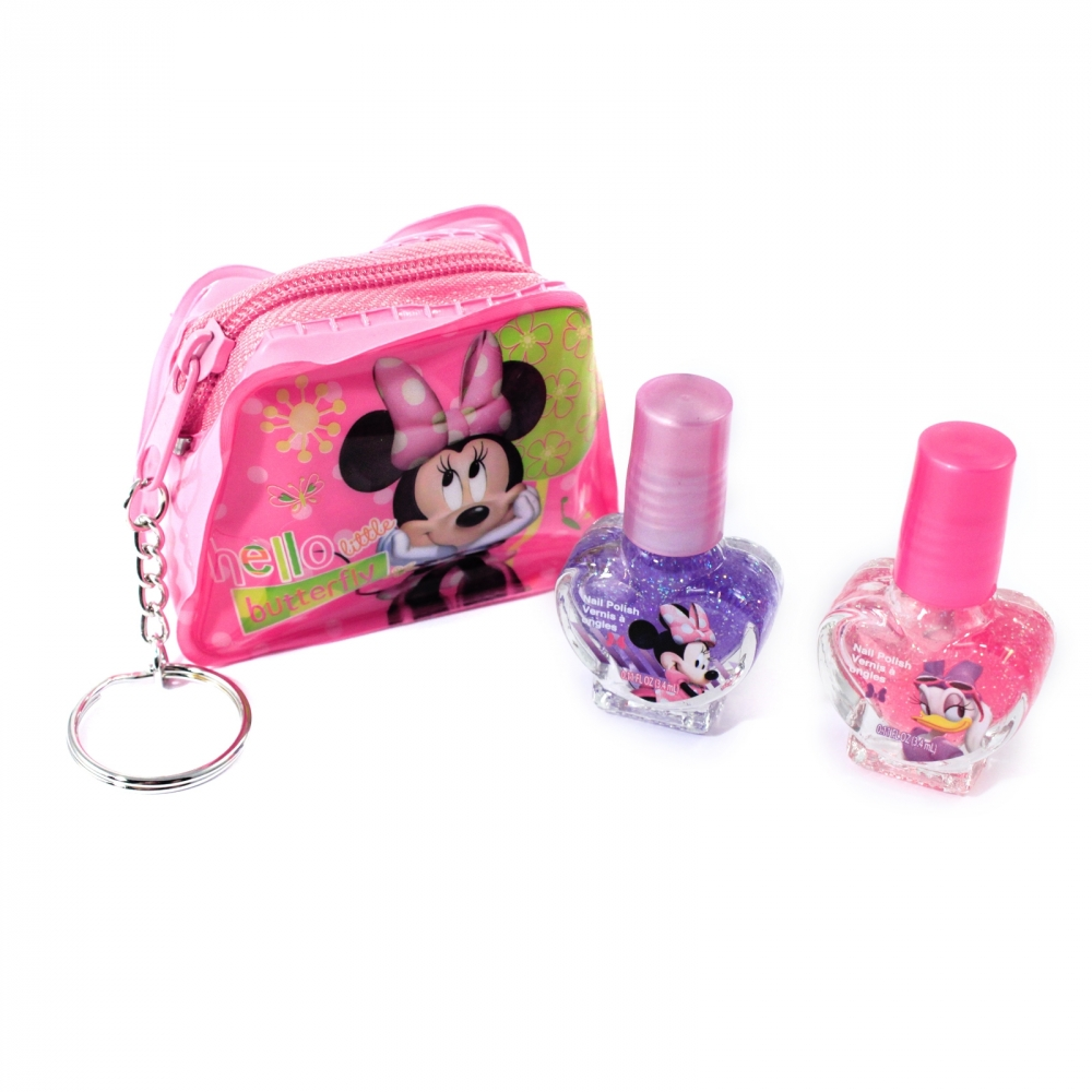 Minnie Mouse Girls Cosmetics Nail Polish and Key Chain Pouch