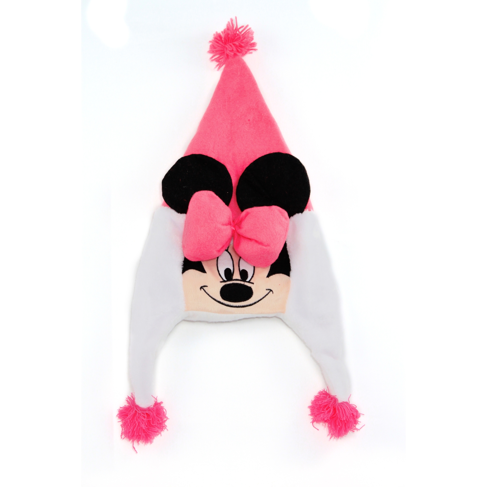 Disney Minnie Mouse Plush Earflap Beanie with Pom Pom