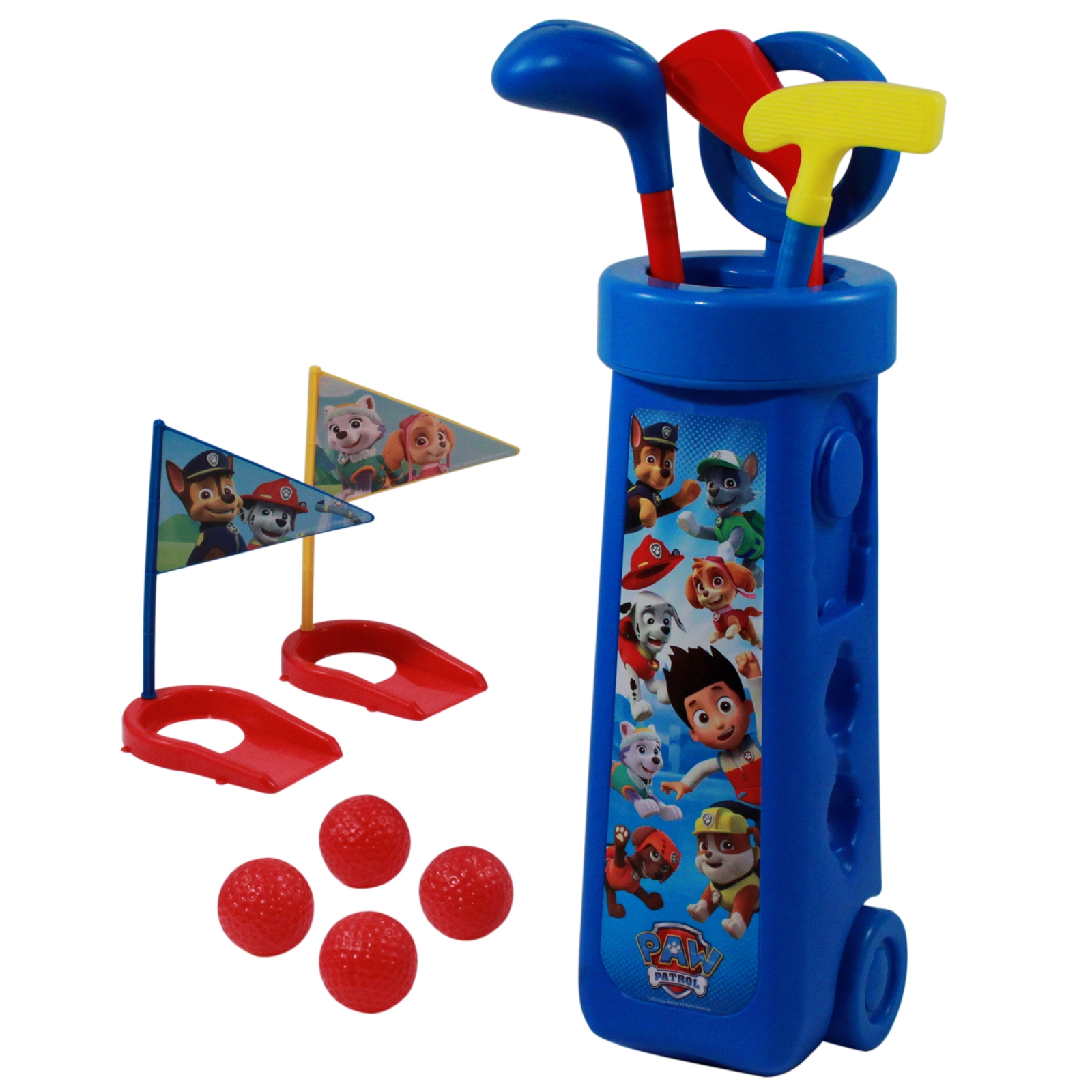 nickelodeon paw patrol kids toddler outdoor golf club set caddy clubs flags balls putting cups marshall chase rubble zuma rocky everest skye ryder