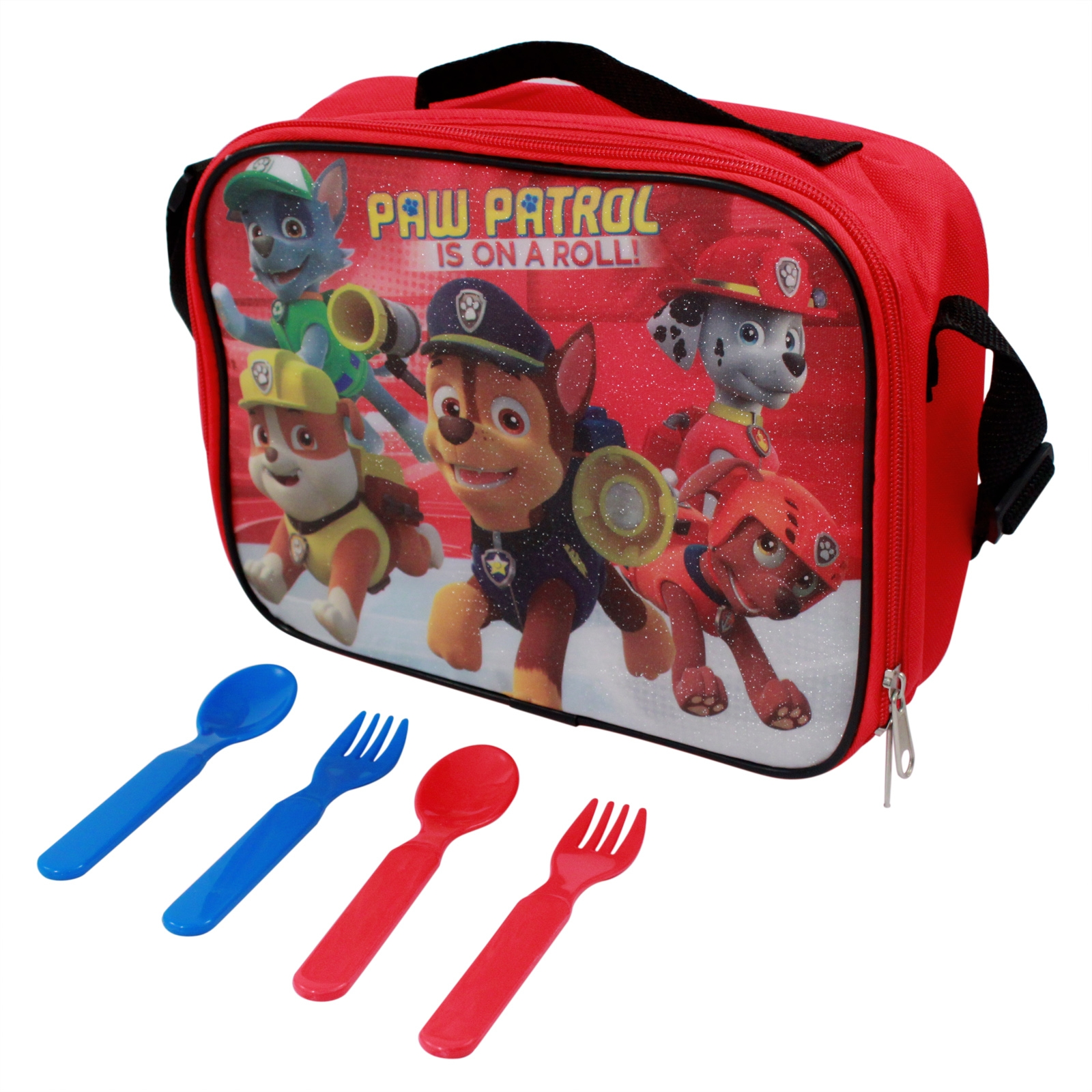 Paw Patrol Lunch Box Pouch Kit Bundle with Red and Blue Forks and Spoons Set with Featured Characters Chase, Zuma, Rubble, Marshall, and Rocky