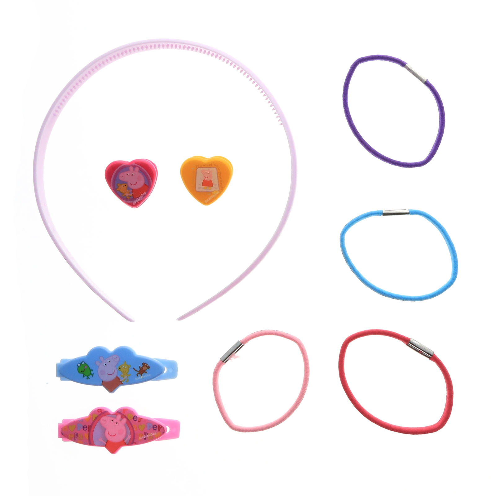 9pc Peppa Pig Hair Accessories Girls Gift Set Hair Ponies Headband Barrettes