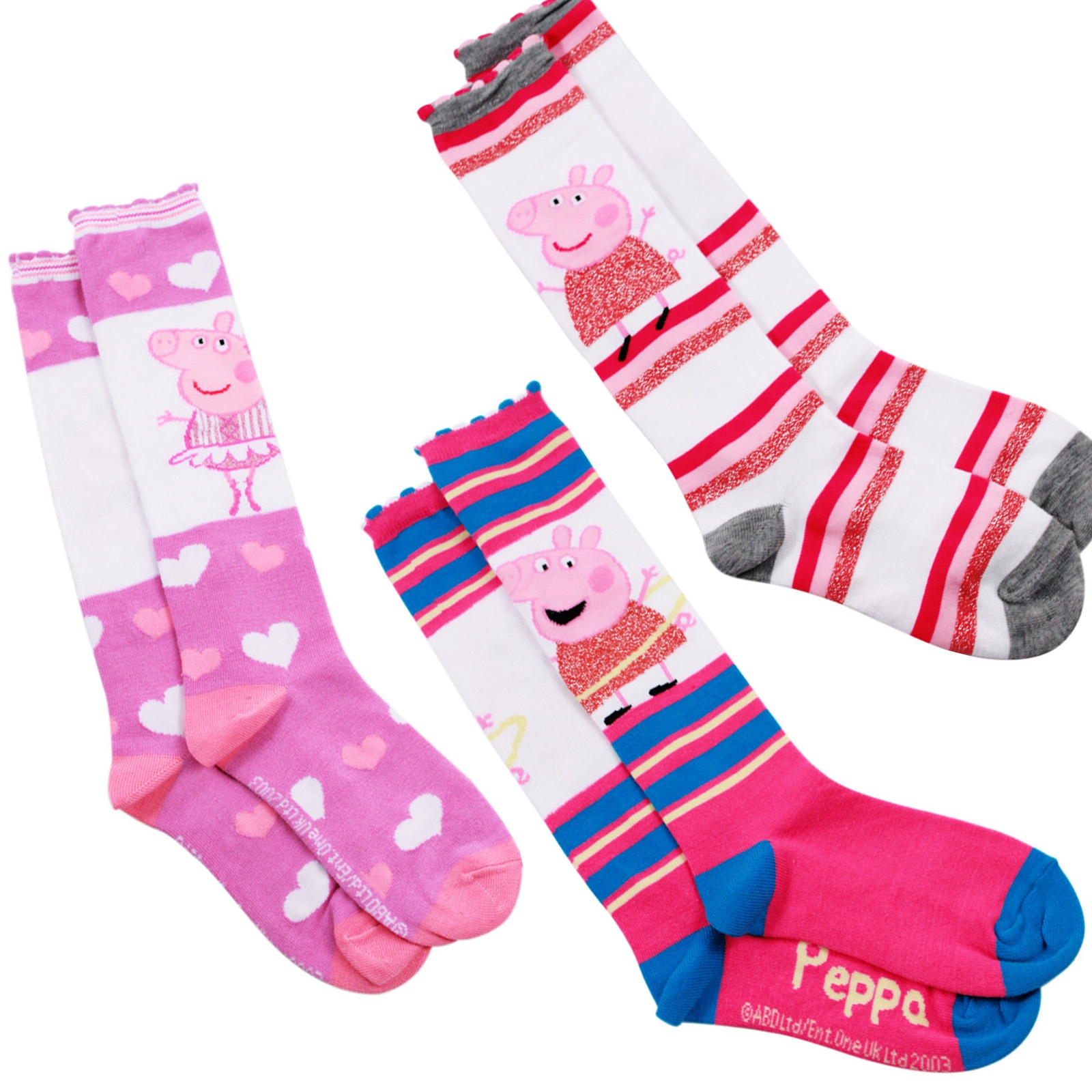 Peppa Pig Girls Knee High Socks Size 6-8 - Pink