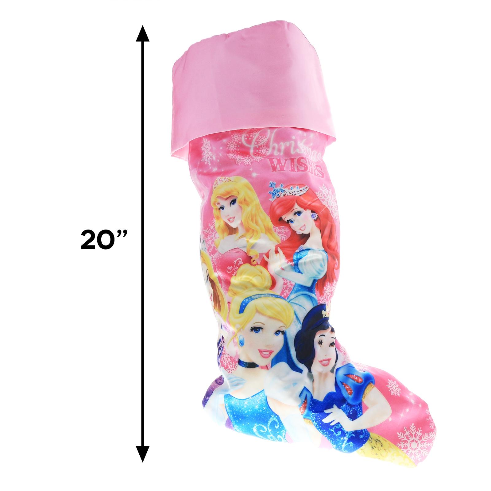Disney Princess 20 Inch Girls Holiday Stocking Satin Print Pink Kids Home Decor