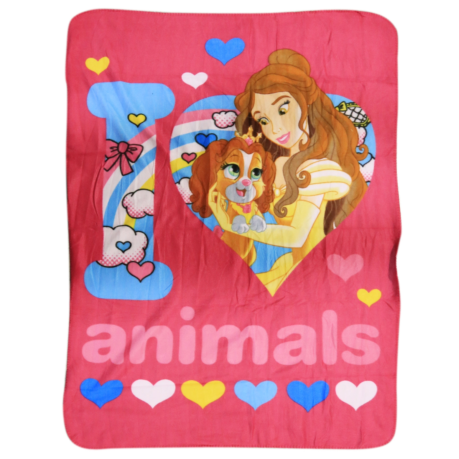 Beauty and the Beast Fleece Throw Blanket 45 x 60 Inch Girls Bedroom Home Decor