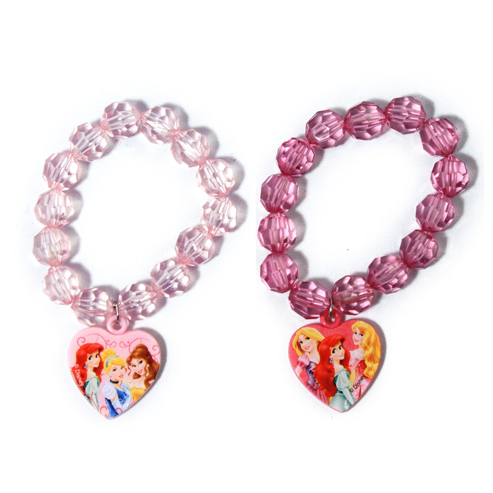 Disney Princess Girls Fashion Jewelry Bracelet (2 Pack) Pink & Purple
