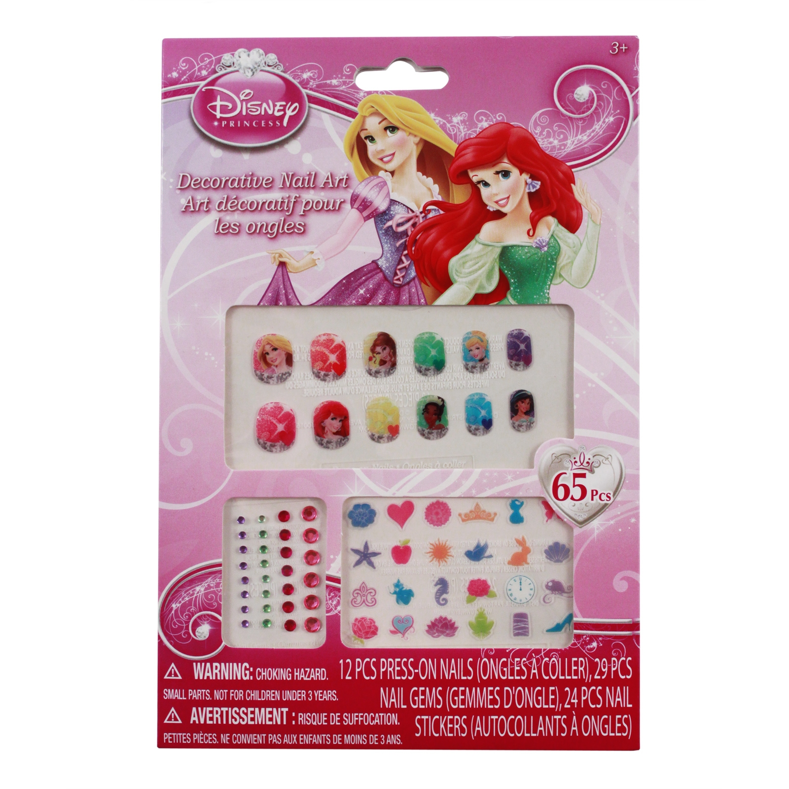Disney Princess Shiny Sparkly Press On Nail Gems and Stickers Set