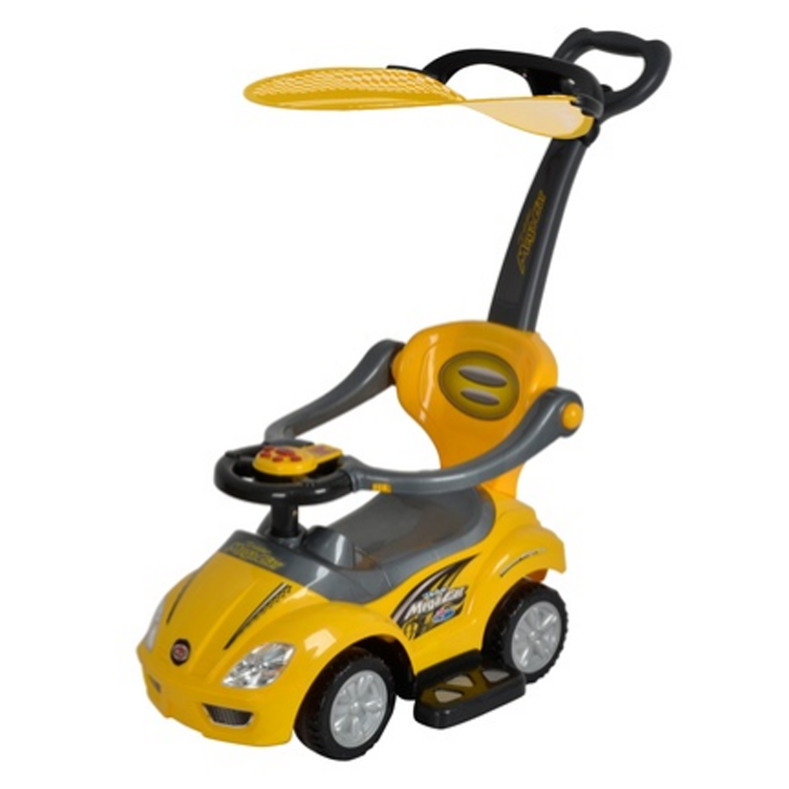 Stroller Ride On Push Car with Sun Canopy - Yellow