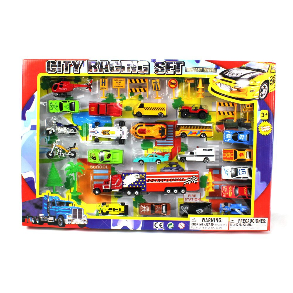Metro Deluxe City Speed Racing 40 Piece Mini Toy Diecast Vehicle Play Set