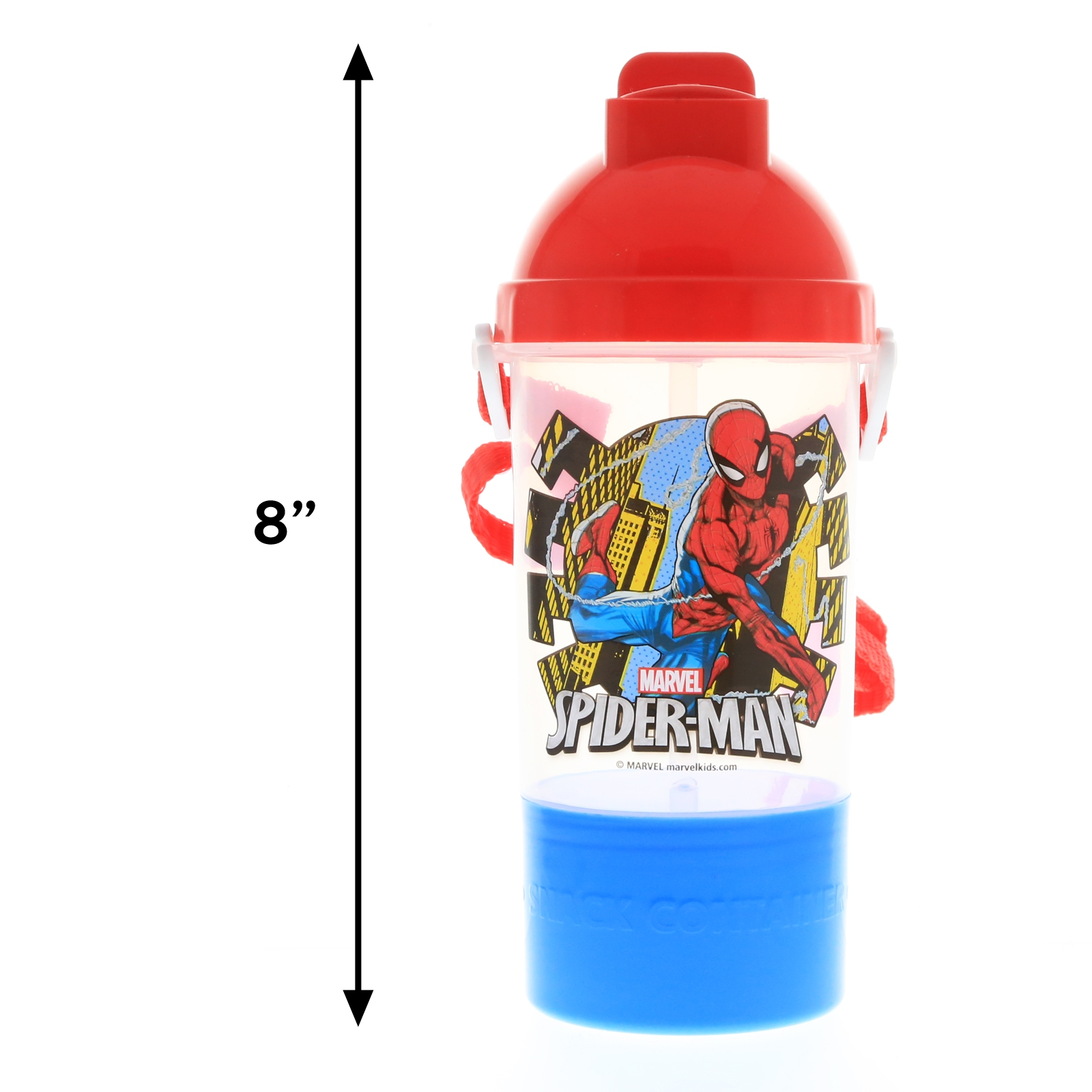 Marvel Spiderman Rock n Sip Snack and Water Travel Canteen Boys Water Bottle
