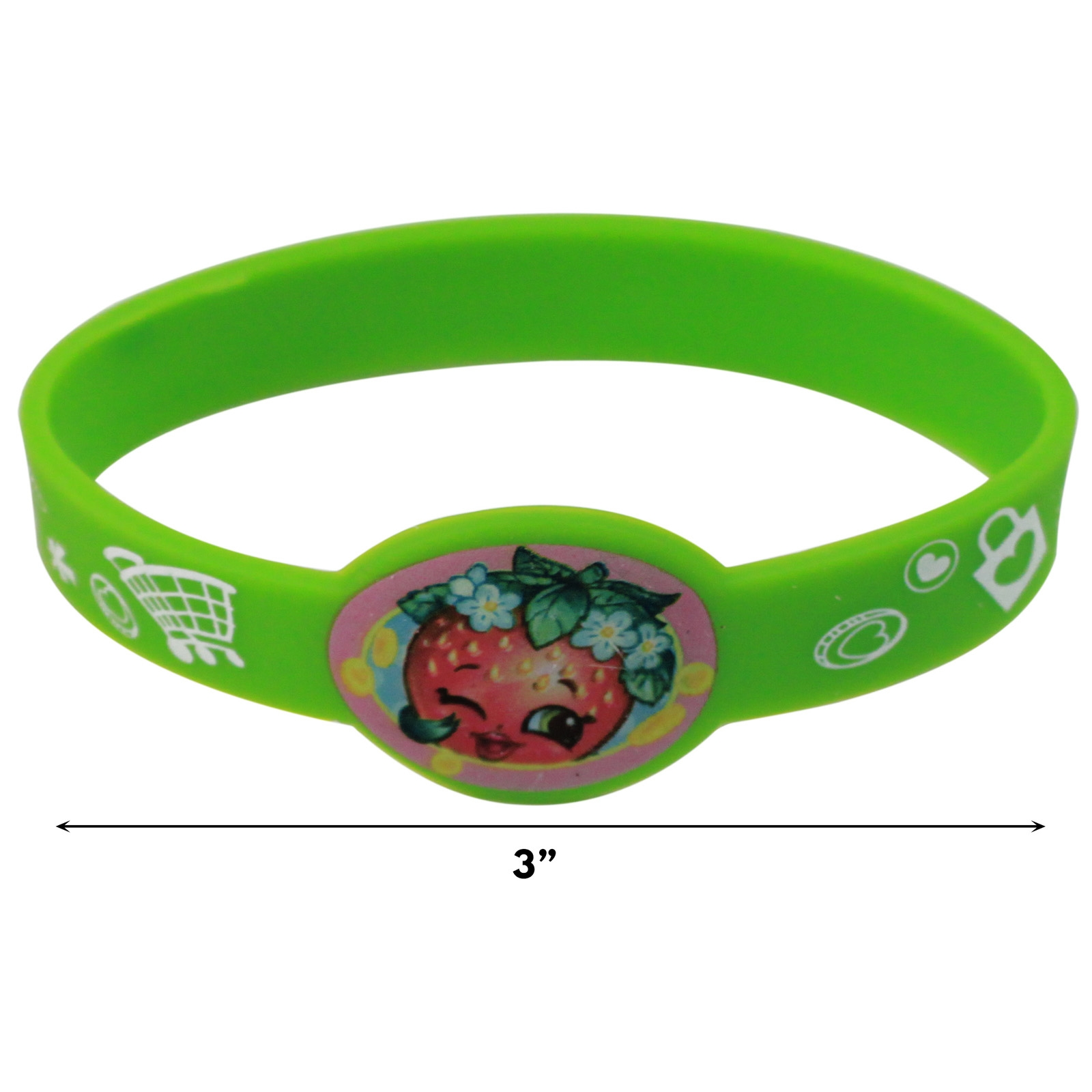 4pc Shopkins Stretchy Silicone Bracelets Gift Set D'Lish Donut Apple Blossom
