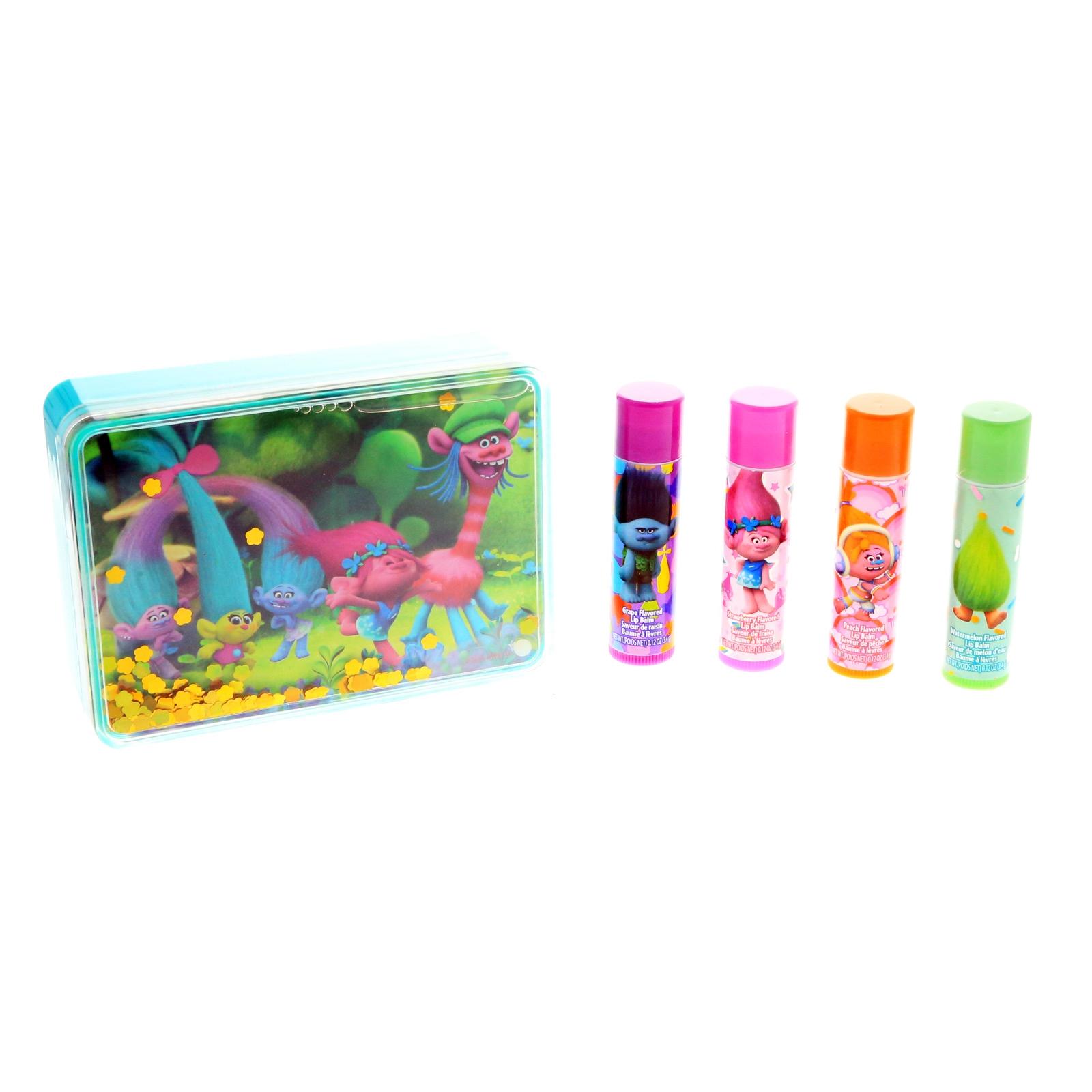 Dreamworks Trolls Girls Flavored Lip Balm Sparkle Case Cosmetic Kids Gift Set