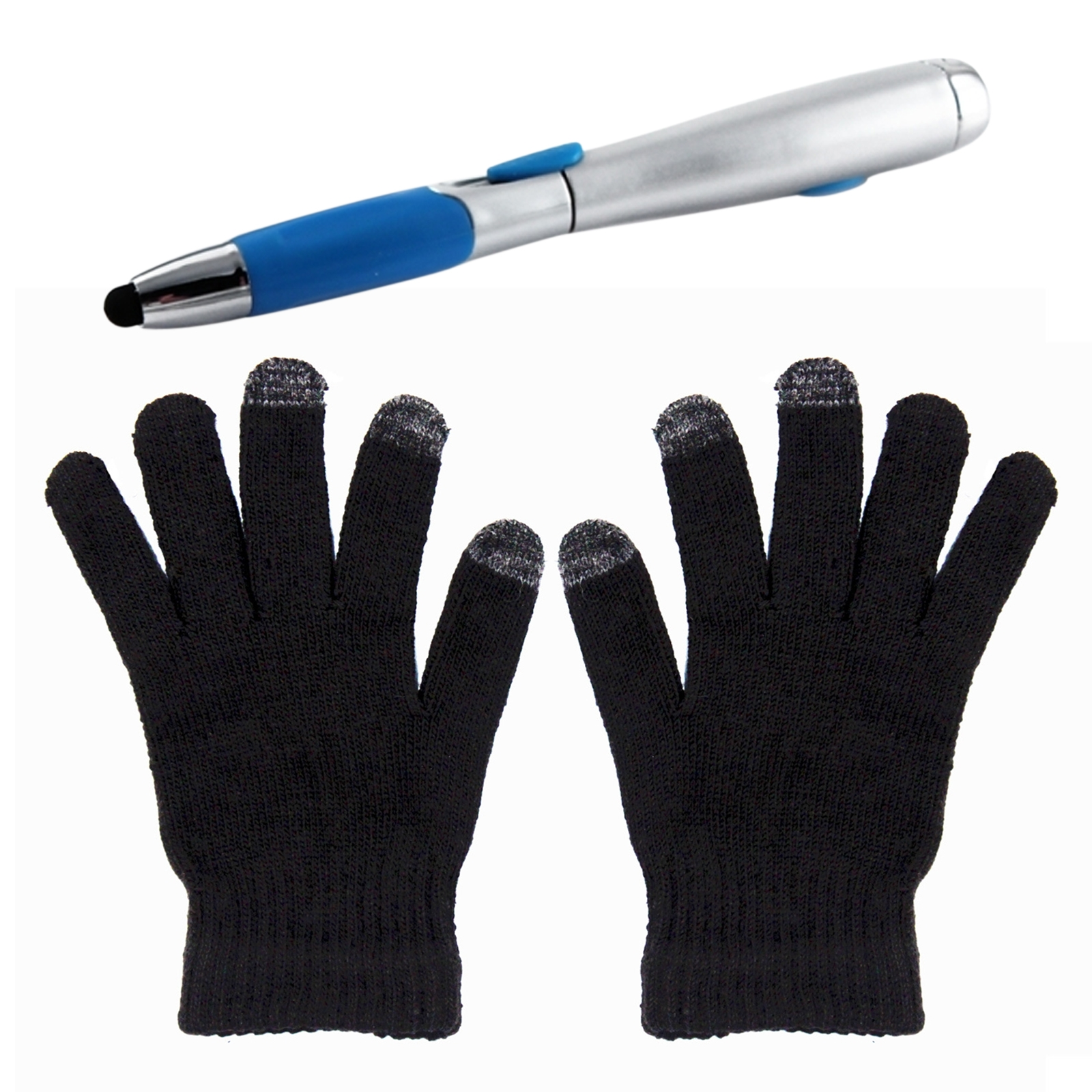 Multipurpose LED Stylus Pen and Smart Phone Touchscreen Gloves Holiday Bundle for Cold Winter Weather and Indoor Activities