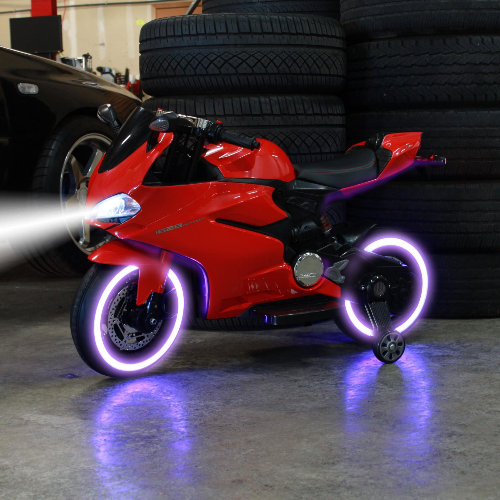 TychoTyke Kids Ride On Motorcycle Tron Bike Light Up Red