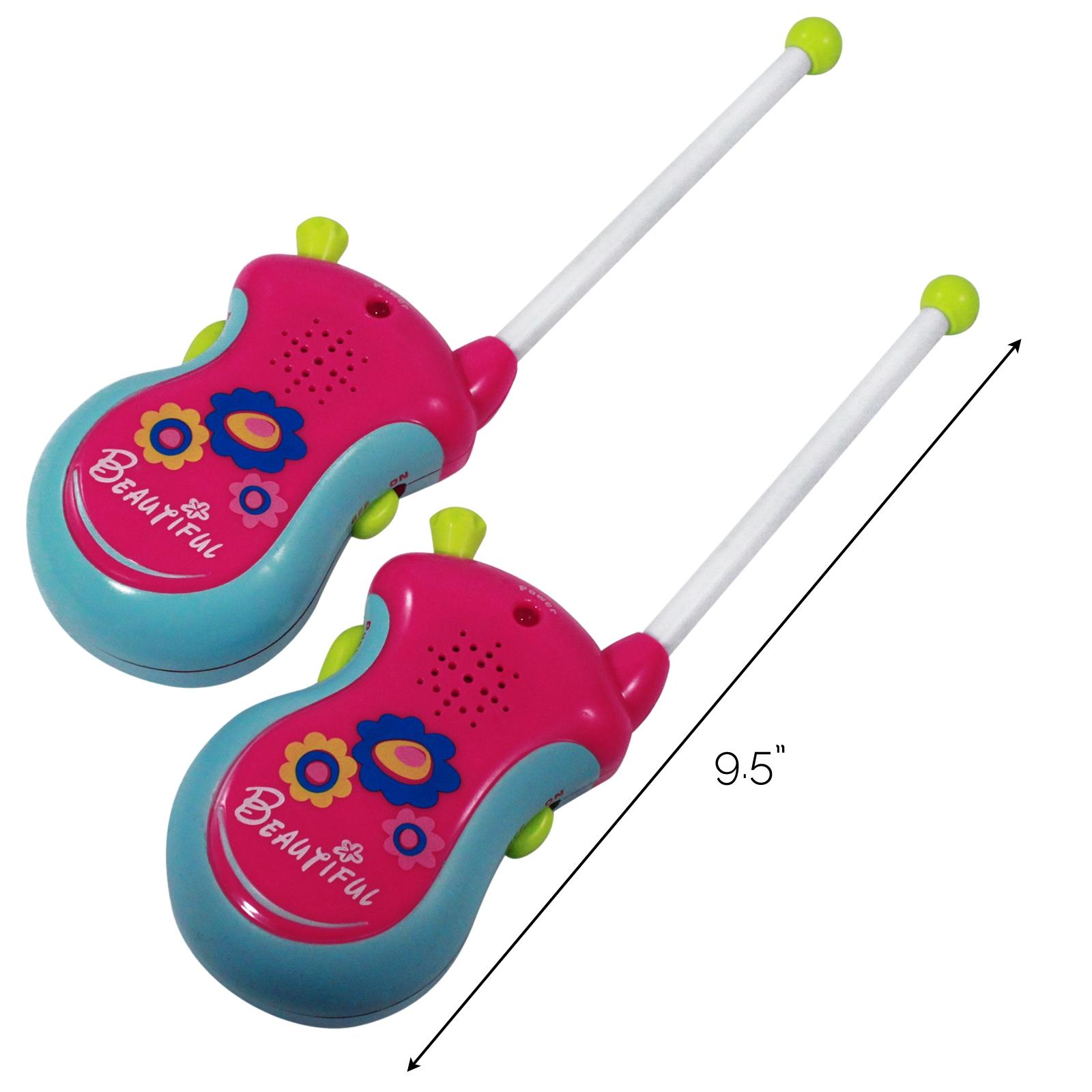 (2 Pack) Girls Pink Walkie Talkies 2 Way Radio Kids Communication Play Set, Pink