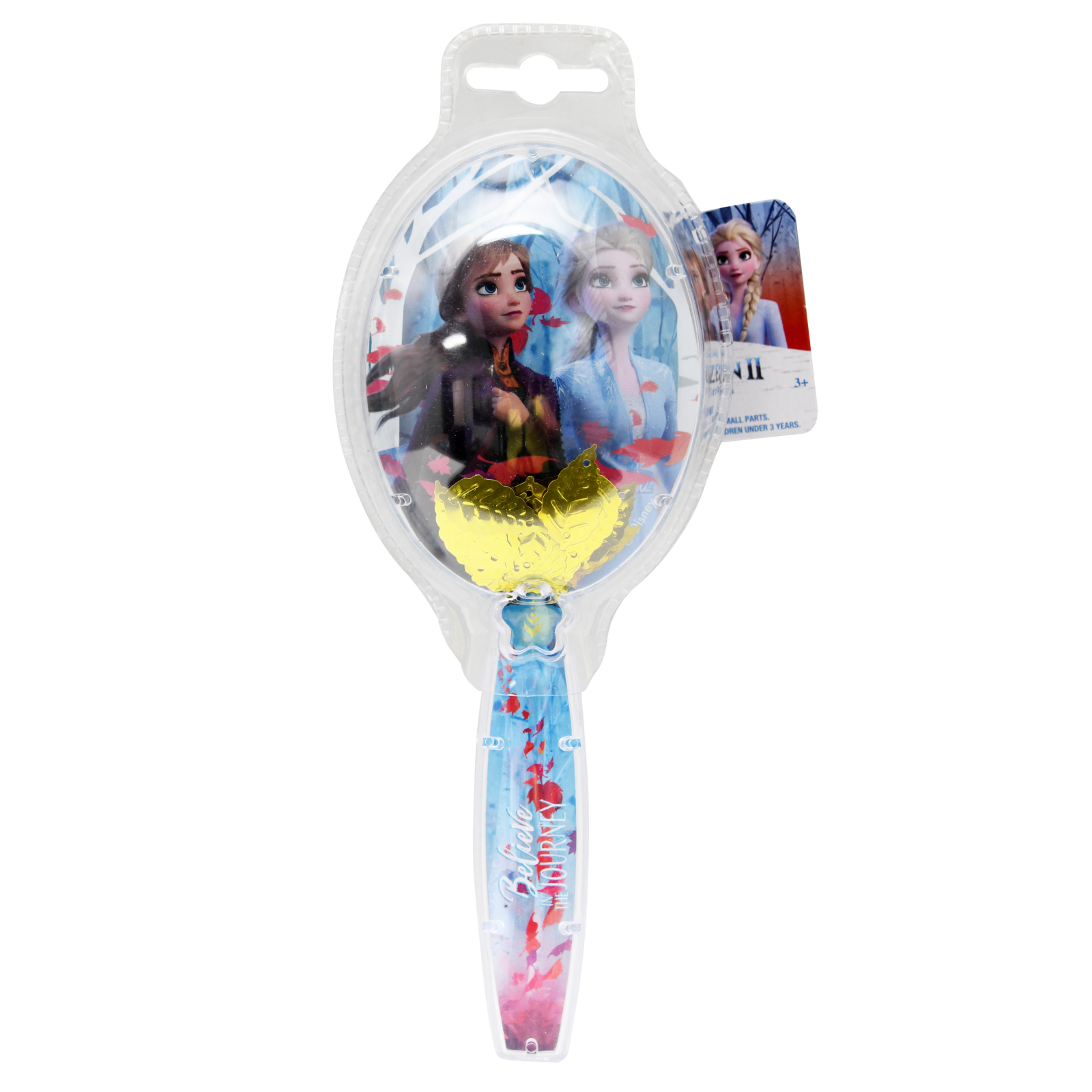 Disney Frozen 2 Girls Hair Brush Glitter Confetti Leaves