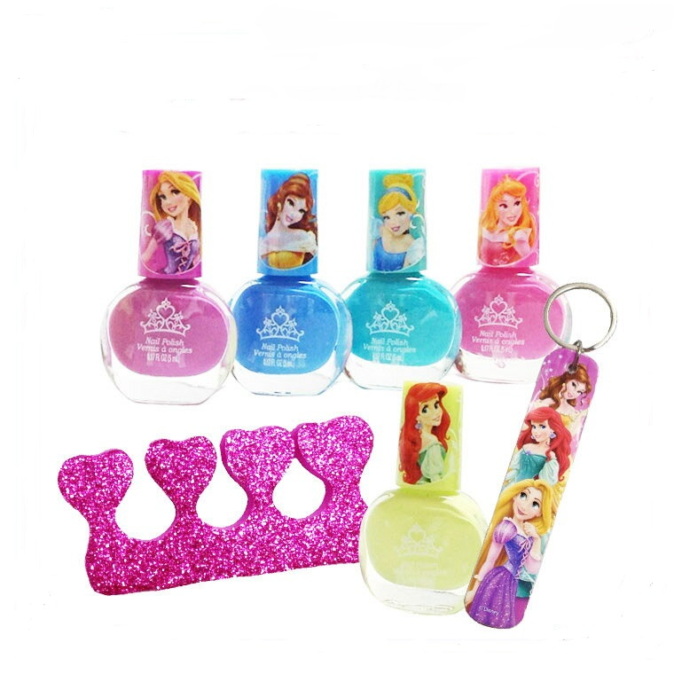 Disney Princess Nail Art Collection with Colorful Polish and Care Accessories