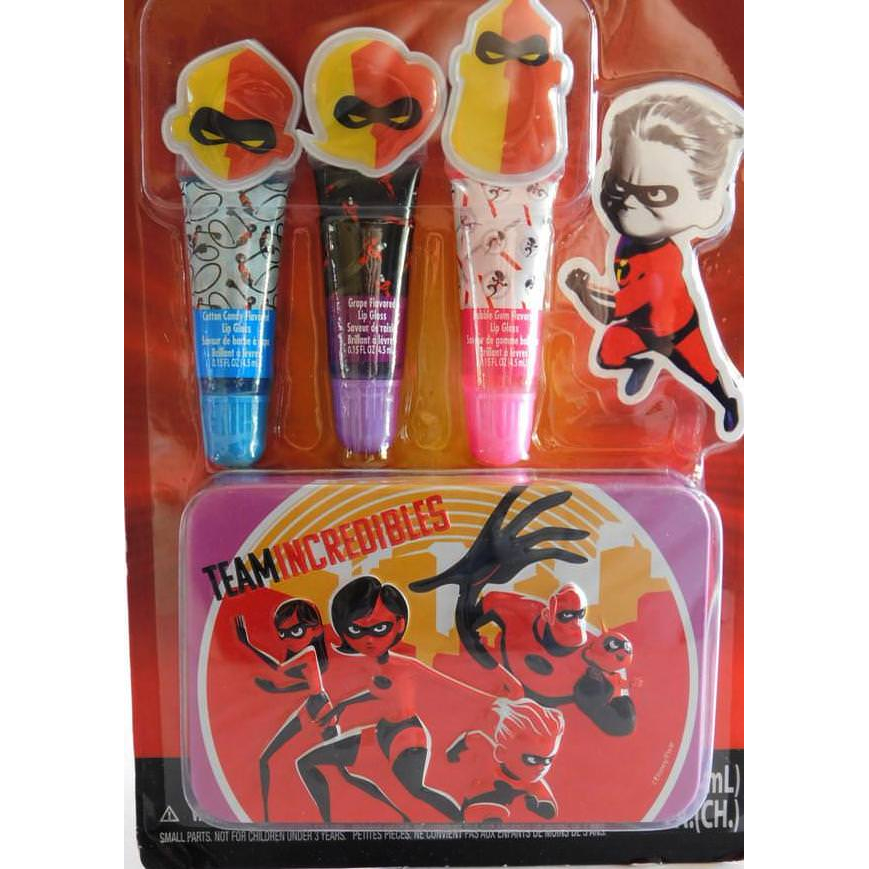 Disney Incredibles Family Super of Heroes Collectible Lip Gloss Tin Set