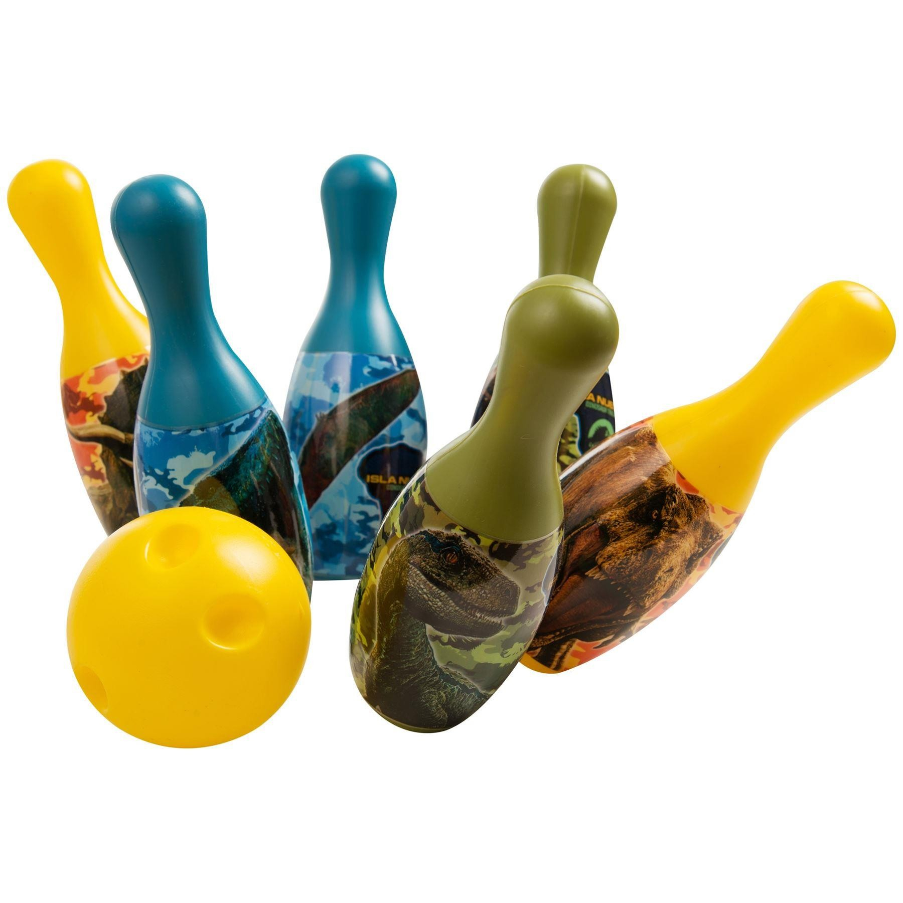 Jurassic World Dinosaur Bowling Pin Party Indoor Outdoor Family Play Set