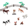 16pc Farm Animals And Plants Toy Bucket Set