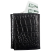 Brandon Dallas Genuine Handcrafted Leather Trifold Wallet - Black Crocodile