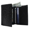 Brandon Dallas Genuine Handcrafted Leather Wallet - Black Crocodile, Open