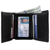 Brandon Dallas Genuine Handcrafted Leather Wallet - Black Crocodile, Open with Cards and Cash