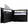 Brandon Dallas Genuine Handcrafted Leather Wallet - Black Ostrich, Open with Cards and Cash
