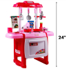 Jumbo Light Up and Sound Pretend Play Kids Full Kitchen Oven Chef Set - Pink