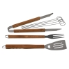 Wood Handle Stainless Steel Outdoor Chef 7pc BBQ Set in Storage Case
