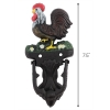 Scaled View Vintage Cast Iron Ranch House Rooster Door Knocker