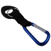 Universal Water Bottle Holder With Blue Aluminum Carabiner Clip Attachment