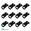 24pk ASR Outdoor Paracord Bracelet Buckle Set Black 15mm .5 Inch
