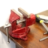 "2"" Fixed Rotating Desk Vise In Action"