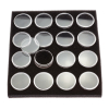 SE GJ838BK Clear Round Display Boxes with Snap-On Lids and Black Foam Fillers (Pack of 16)