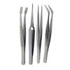 Universal Tool Stainless Steel Tweezer Set Assorted Tips Precision Tools - 4pc