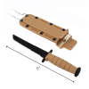 6inch ASR Tactical Serrated Fixed Blade Tanto Point Hunting Neck Knife - Tan