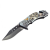 "ASR Outdoor Drop Point Pocket Knife 4.75"" Wolf Design"