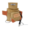 6 Pocket Suede Leather Tool Bag Heavy Duty Carpenter Storage Pouch - Tan