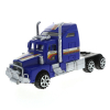 KidPlay Deluxe Friction Semi Truck Car Carrier with 4 Race Cars Boys Toys - Blue