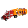 KidPlay Deluxe Friction Semi Truck Car Carrier with 4 Race Cars Boys Toys - Red