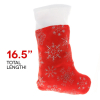 Kids Christmas Stocking Holiday Decor Sparkly Snowflakes White Cuff - 16.5in