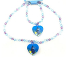 Heat Shaped Pendant Beaded Blue Necklace and Bracelet Featuring Dory from Disney Pixar's Finding Dory
